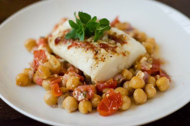 Cod Recipe with Chickpeas & Tomatoes