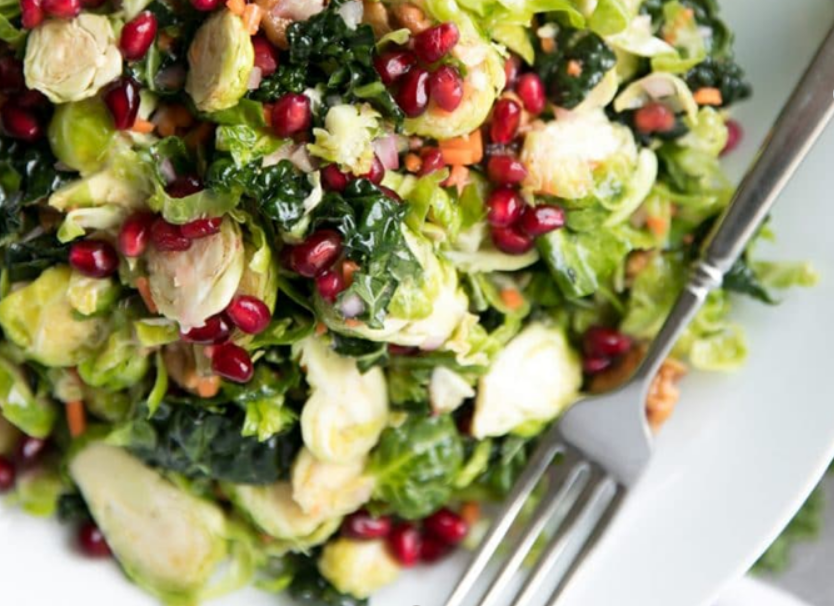 Pomegranate, Avocado, Kale and Brussels Sprout Salad