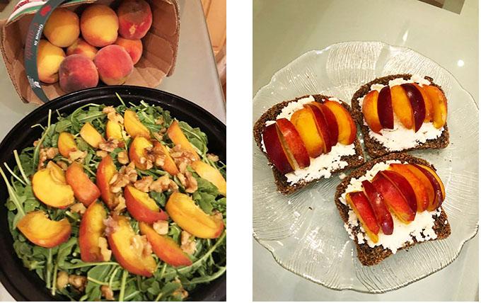 peaches, peach salad, overnight oats and peaches, peaches and ricotta toast